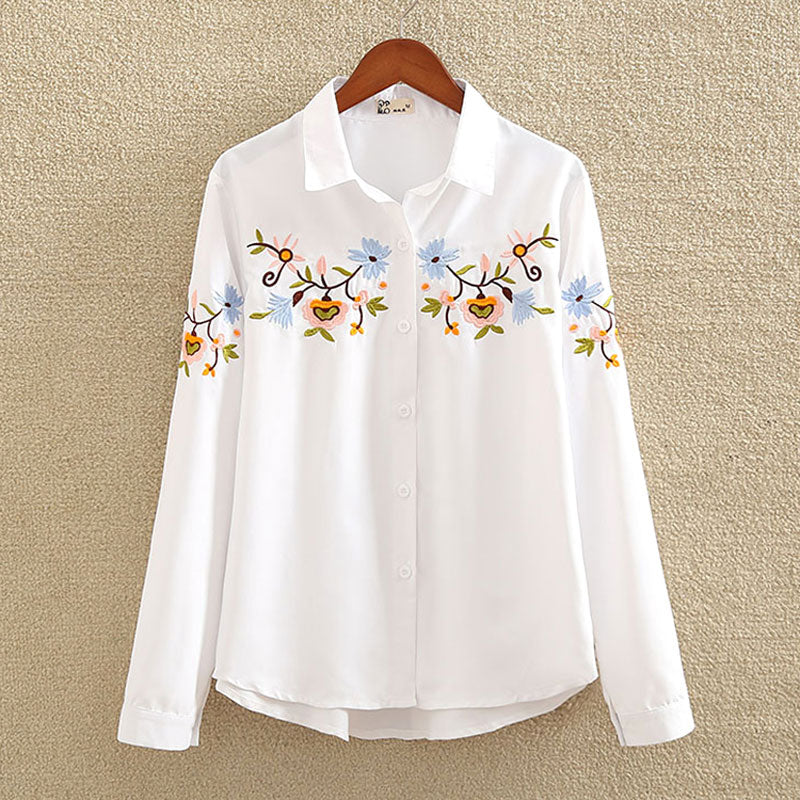 nvyou gou 2018 Floral Embroidered Blouse Shirt Women Slim White Tops Long Sleeve Blouses Woman Office Shirts plus size-geekbuyig