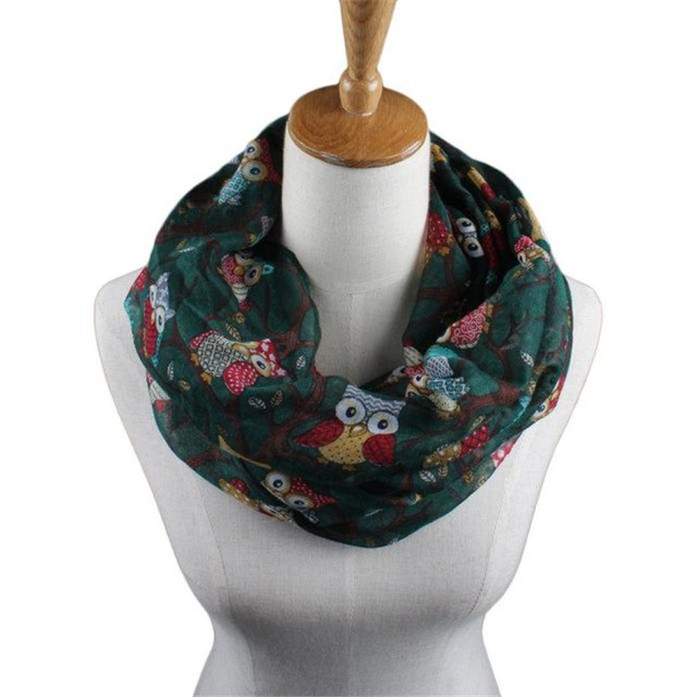 #4522 Enduring Women Ladies Owl Pattern Print Scarf Warm Wrap Shawl-geekbuyig