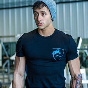 2018 Summer Fashion Brand T-Shirt Mens Gyms Clothing Wolf head Print Short Sleeve Slim Fit T Shirt Fitness Men Tshirt-geekbuyig
