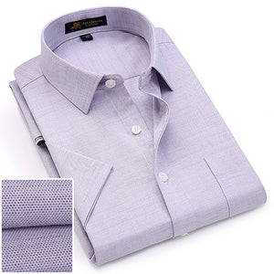 Men's Short Sleeve Regular-fit Oxford Print Dress Shirt with Front Pocket High-Quality Thin Smart Casual Factory-direct-clothing-geekbuyig