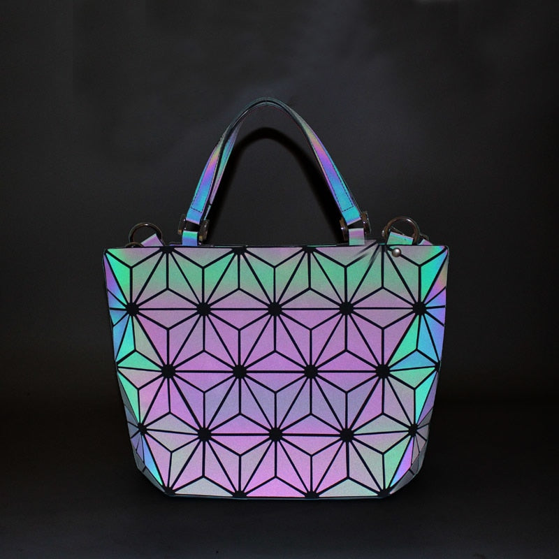 Flowers Poetry Women Bao Bag New Geometry Sequins Mirror Saser Plain Folding Bags Luminous Handbag Women Casual Tote Bao Bag-geekbuyig