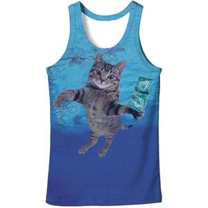 Cloudstyle 2018 Fashion 3D Tank Tops Men Conventional Sleeveless Vest Cute Sunglass Cat 3D Print Bodybuilding Active Funny-geekbuyig