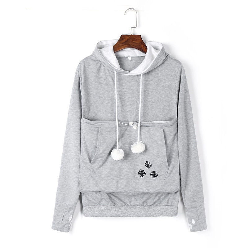 Mewgaroo Cat Lovers Hoodies Women Pet Hooded Casual Kangaroo Cat Sweatshirt For Women Pouch Hoodie Big Size Hoody Ladies Tops-geekbuyig