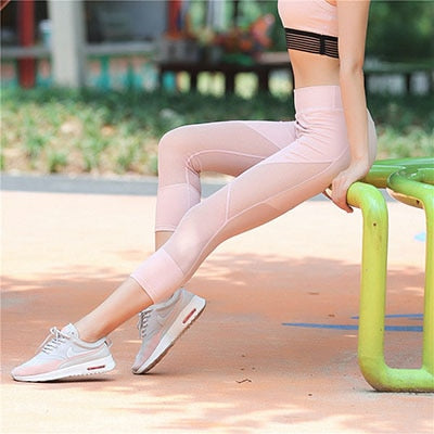 Hot New! Sexy Mesh Patchwork Short Leggings Women Fitness Capri Pants Dry Quick Breathable Sportes Legging Elastic Slim Jeggings-geekbuyig