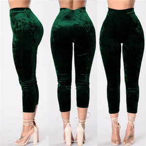 2017 Warm Winter Velvet Pants Women Elastic High Waist Pants Sexy Tights Stretch Flare Satin Velour Ladies Pants Trousers 930645-geekbuyig