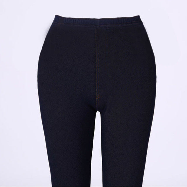 XS-XXXL 2018 Winter Leggings Women Thicken Warm Pencil Pants Fleeces Inside Faux Denim Trousers Footless Leggings Free shipping-geekbuyig