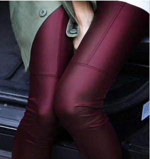 New 2018 Spring Fashion woman Full Leather Patchwork Repair The Fitting Female Ankle Length Trousers Faux Leather pants-geekbuyig