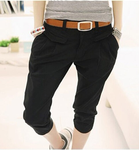 Plus Size 2XL Summer Women's Pockets High Waist Capris Pants Casual Loose harem pants Comfortable Women Pants-geekbuyig