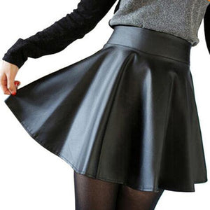 Free ship New 2018 Russia Fashion Polyester artificial leather Skirt Women Vintage High Waist Pleated Skirt Female Short Skirts-geekbuyig