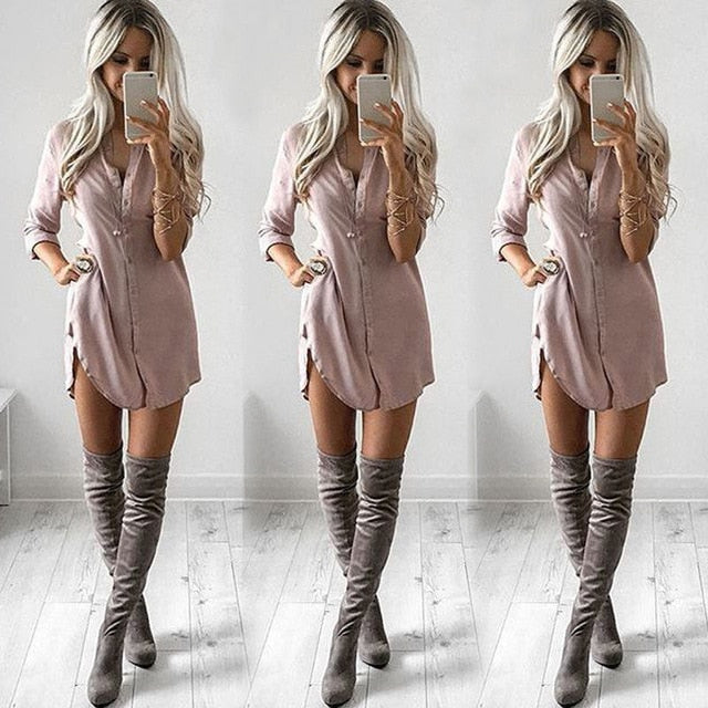 S-XL Office Lady Women's Long Sleeve Shirt Casual Full Sleeve Solid Loose Autumn Dresses Fashion Tops Mini Short Dress Sundress-geekbuyig