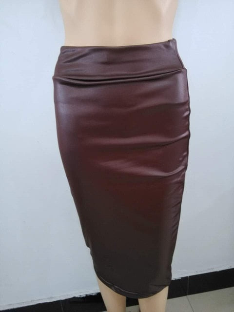 Bohocotol 2018 pencil faux leather skirt women casual plus size clothing chic elegant sexy fitness black midi pencil skirts-geekbuyig