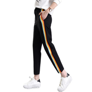 2018 Spring Summer Women Casual Sweatpants Rainbow Striped Printed Side Pant Ladies Loose Trousers Joggers Sweat Pants Plus Size-geekbuyig