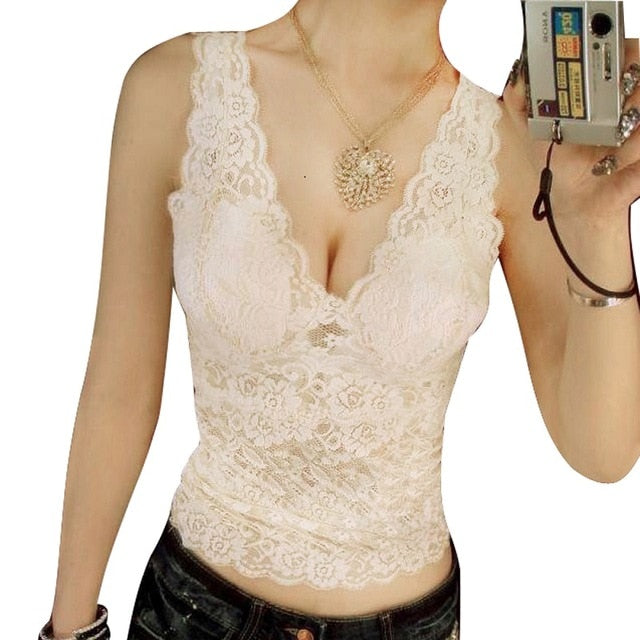 2018 Women's Sexy Tank Tops Lace Flower Pattern Tops Deep V Collar Vest Hollow Lace Tops For Female Sexy Strappy Bralet Crop Top-geekbuyig