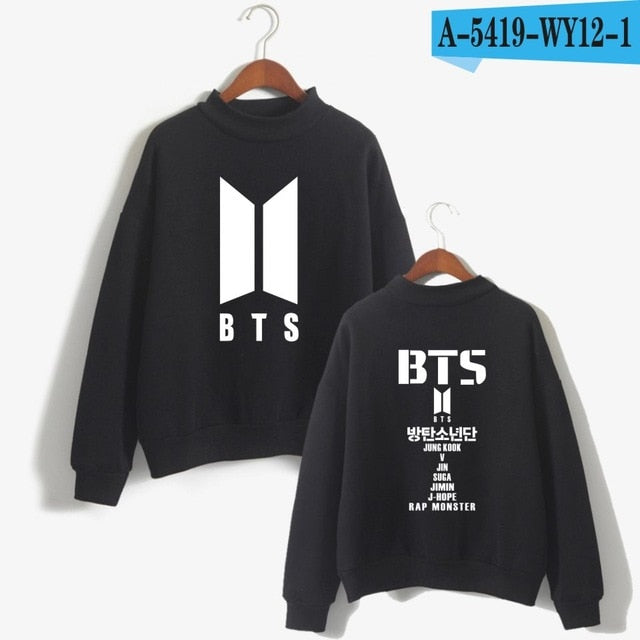 LuckyfridayF BTS K Pop Sweatshirt Women Fashion Hip-hop Turtleneck Fans Hoodie Bangtan Boys 2017 Love Yourself Sweatshirt-geekbuyig