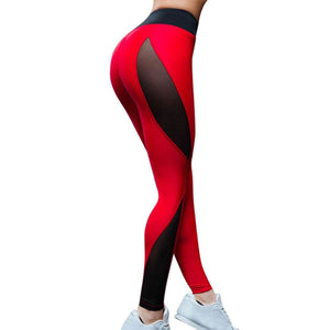 JLZLSHONGLE Hot Red And Black Patchwork Leggings For Women Sexy Mesh Splice Fitness Pants Elastic Workout Slim Trousers DropShip-geekbuyig