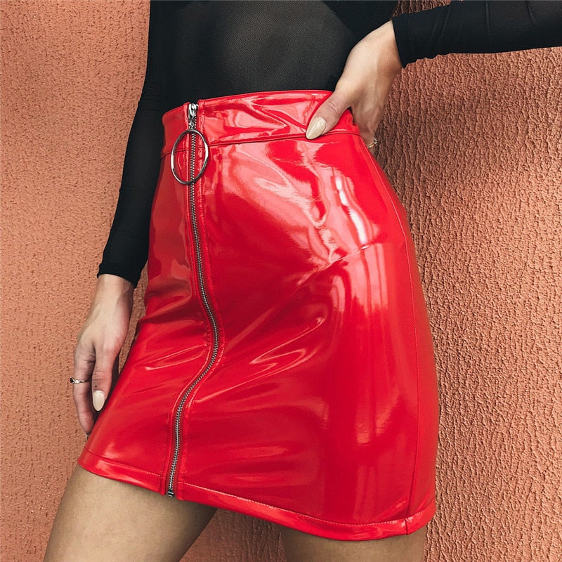 Hot Selling Sexy Women Bandage PU Leather Mini Skirts Zipper Style High Waist Sexy Skirts Clothes For Ladies-geekbuyig