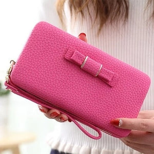 Purse bow wallet female famous brand card holders cellphone pocket PU leather women money bag clutch women wallet 505-geekbuyig