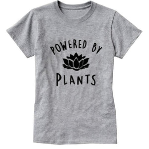 2018 Vegetarian Vegan POWERED BY PLANTS Fashion T Shirt for Women Harajuku Tumblr Cute Tumblr Femme Funny Female T Shirt Tops-geekbuyig