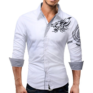 2018 New Men'S Long-Sleeved Dress Shirt Dragons Men'S Casual Slim Lapel Male Quality Large Size 4XL QARE-geekbuyig