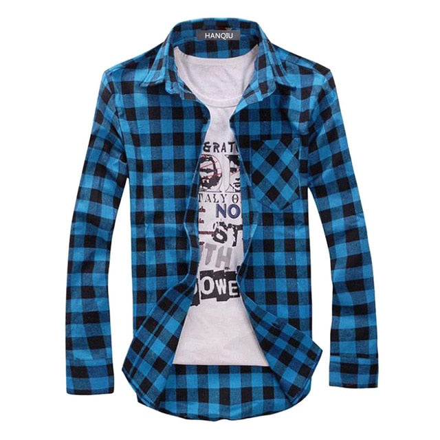 Men Plaid Shirt Camisas Social 2018 Autumn Men's Fashion Plaid Long-sleeved Shirt Male Button Down Casual Check Shirt-geekbuyig