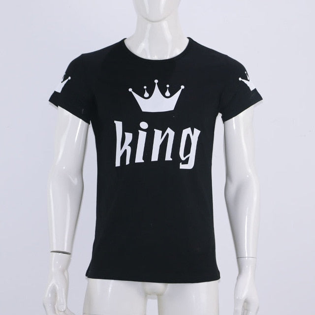 2017 Valentine Shirts Woman Cotton King Queen Funny Letter Print Couples Leisure T-shirt Man Tshirt Short Sleeve O neck T-shirt-geekbuyig