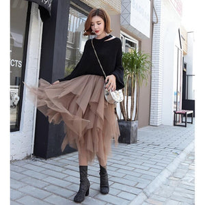 Fashion Elastic High Waist Long Tulle Skirt Women Irregular Hem Mesh Tutu Skirt 2018 Spring Party Skirt Ladies faldas detul-geekbuyig