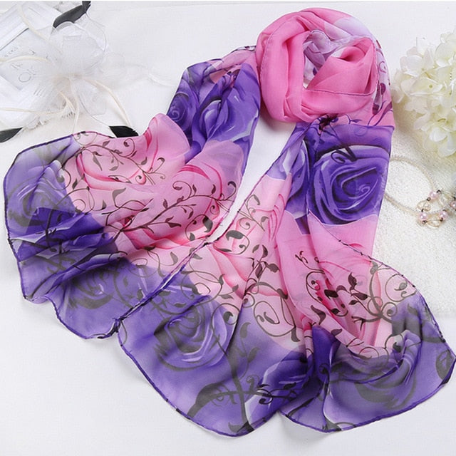 Comfortable India Promotion Rose Print Chiffon Polyester Scarves Woman Thin Shawl Turban Belt Hijab Fashion Arabic Scarfs Wrap-geekbuyig