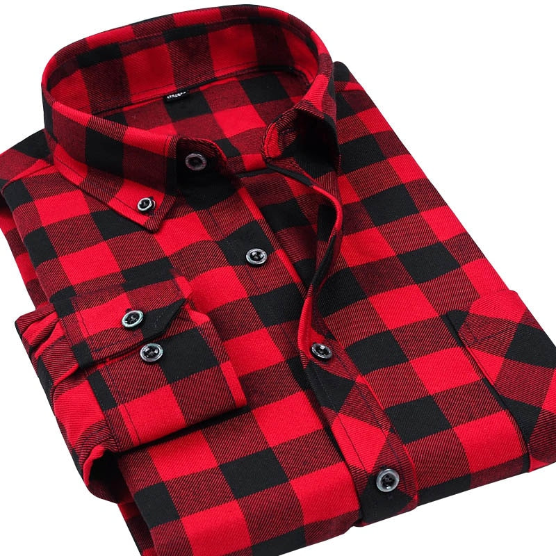 VFan Flannel Men Plaid Shirts 2018 New Autumn Luxury Slim Long Sleeve Brand Formal Business Fashion Dress Warm Shirts E1203-geekbuyig