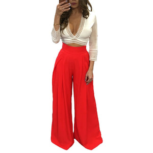 Women Harem Pants Solid Color High Waist Loose Wide Leg Pants Pockets Casual Palazzo Baggy Clubwear Trousers 2018 Pantalon Femme-geekbuyig