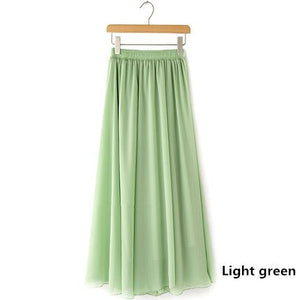 Women Chiffon long skirt Candy Color Pleated Women Skirts 2018 Summer Skirts in floor 100cm length 19Colors long saia-geekbuyig