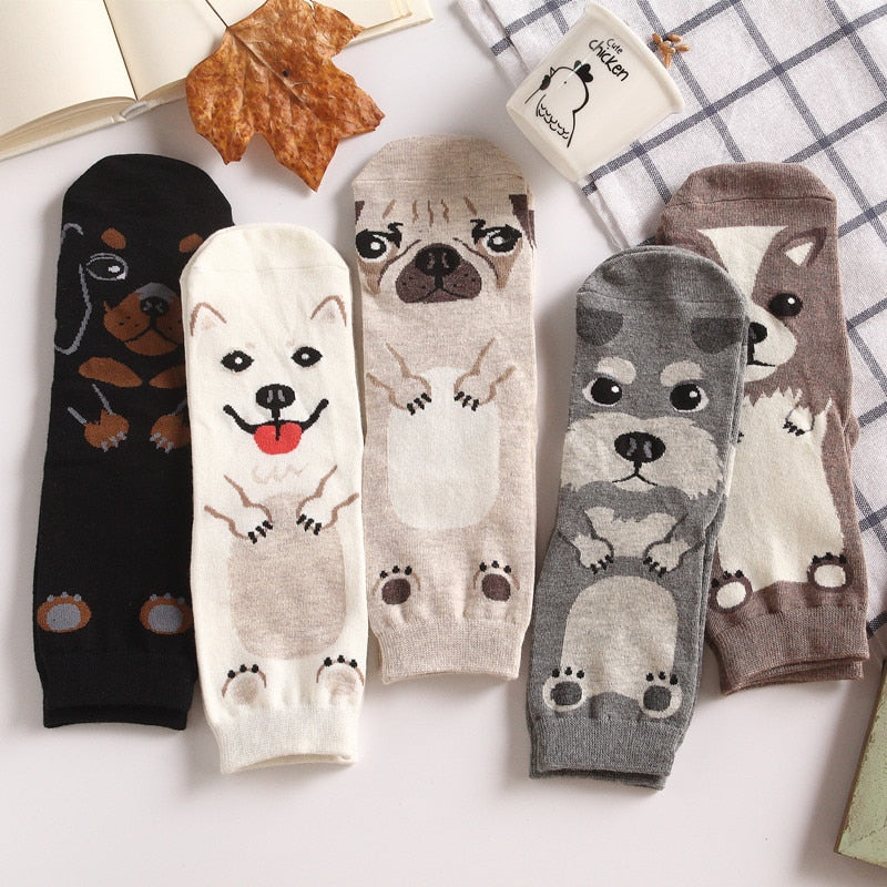 Adult Size Crew Socks Unisex Pet Short Puppy Doberman Corgi Dachshund Sausage Dog Pug Doge Papillon Collie Husky Schnauzer New-geekbuyig