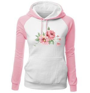 2018 Autumn Winter Women's Sportswear Harajuku Pink Kawaii Flower Print Sweatshirt For Female Brand Kpop Clothing Cute Tracksuit-geekbuyig