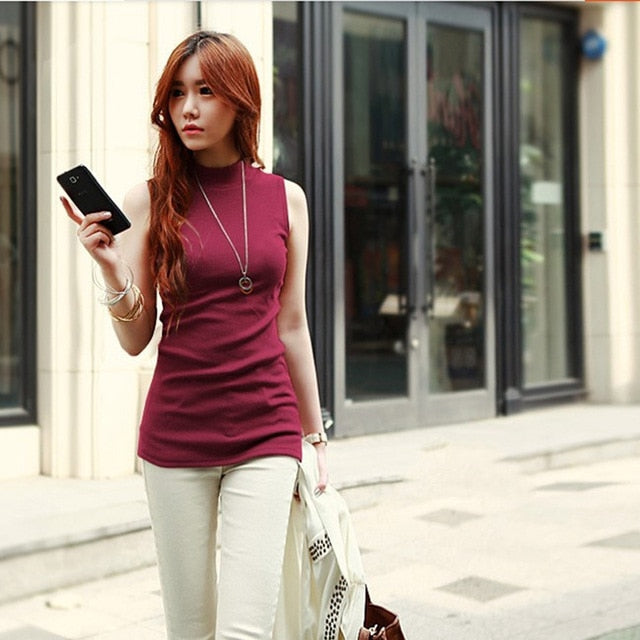 2018 women spring summer sleeveless solid color Tops & Tees cotton Tanks tops & Camis women lady Vest 10 colors-geekbuyig