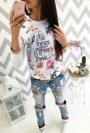 New Fashion Women Long Sleeve Casual Hoodies Tops Autumn Spring Flowers Printing Casual Loose Cotton Tops Sweatshirts-geekbuyig