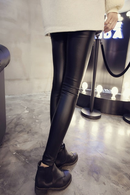 2017 New Women PU Leather Pants Stretch Leggings Pencil skinny Black Sexy Ladies female Trousers-geekbuyig