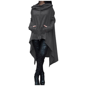 Winter Women Hooded Sweatshirts Cloak Cape Long Sleeve Pullovers Cotton Long Hoodie Dress Loose Irregular Plus Size Hoodie S~3XL-geekbuyig