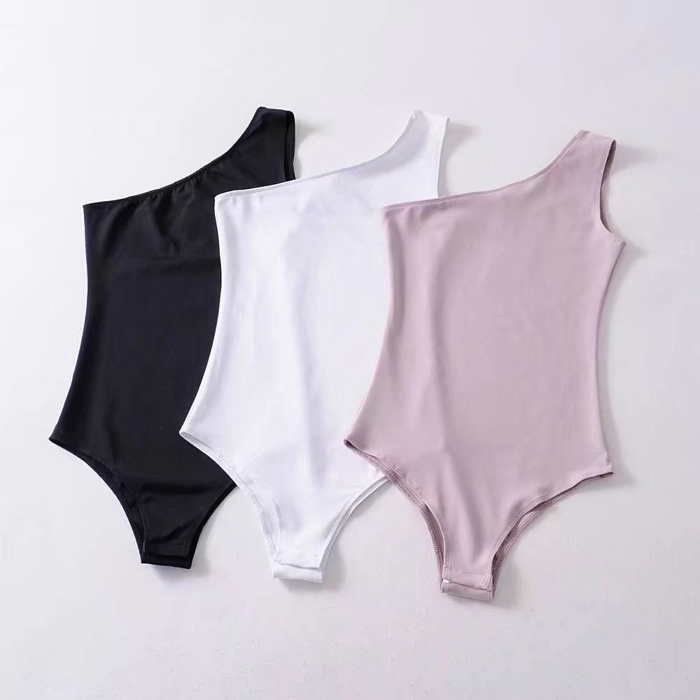 Jellpe 2018 New Basic One Shoulder Bodysuit Rib Knit Elegant Women Sexy Spring Bodysuits Fashion Skinny Bodysuit-geekbuyig