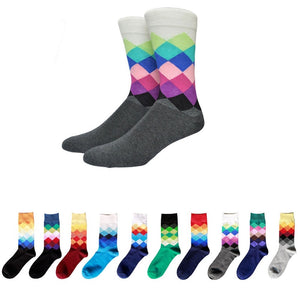 Men Winter Socks New Arrive Men's Middle Socks Rainbow Faded Diamond Socks Warm Diamond Printing Casual Standard Socks-geekbuyig