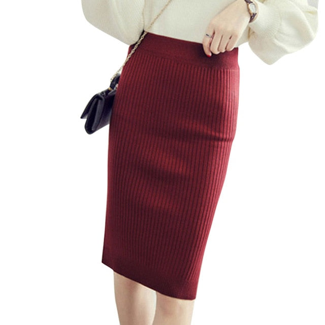 Autumn Winter Women Knitted Pencil Skirts Stretch High Waist Knee Length Slim Office Lady Bodycon Long Skirt FS99-geekbuyig