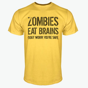 2017 Funny Zombies Eat Brains So You'Re Safe TShirt Men's Letter Printed Short Sleeve T-Shirts Fashion Hip Hop Streetwear Tops-geekbuyig