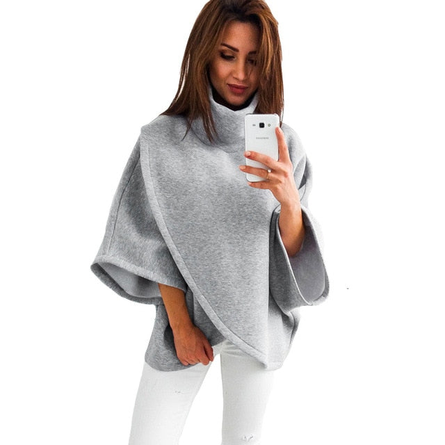 Front Cross Irregular Turtleneck Sweatshirt Women Autumn Winter Hoodies Three Quarter Flare Sleeve Gray Warm Tops-geekbuyig