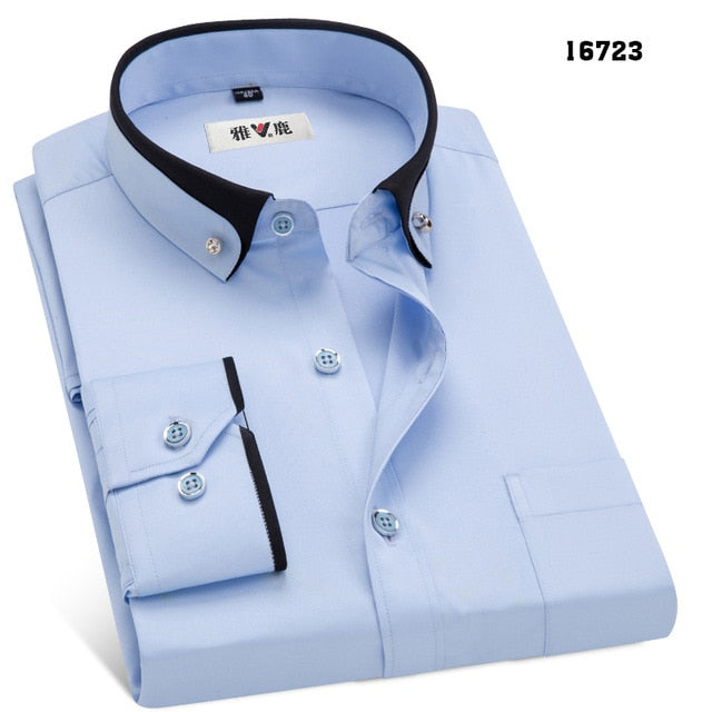 MACROSEA Spring&Autumn Men's Business Dress Shirts Male Formal Button-Down Collar Shirt Fashion Style Men's Casual Dress Shirt-geekbuyig