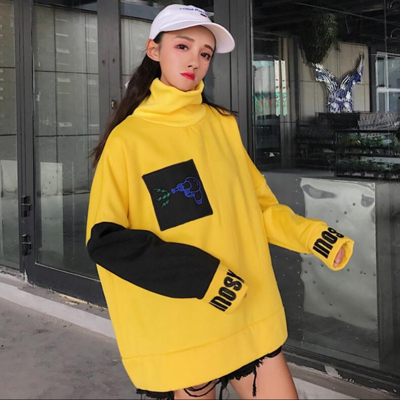 Autumn and winter women Harajuku wind loose bf Sweatshirts embroidered small high collar-geekbuyig