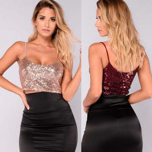 Hirigin Sequins Bling Shiny Women Party Sleeveless Tank Top Casual Loose Shirt Crop Tops Blouse New-geekbuyig
