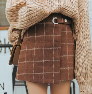 2018 Kawaii Women Skirts Autumn And Winter Thickening Slim Hip Woolen Plaid Skirt Vintage Japanese Harajuku High Waist Skirt-geekbuyig