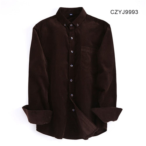 New Autumn/winter 100% cotton corduroy full sleeve button-down collar easy care wearable comfortable solid male casual shirts-geekbuyig
