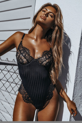Women Sexy Lace Black Clubwear Bodysuit Female Elegant Open-Back Jumsuits-geekbuyig