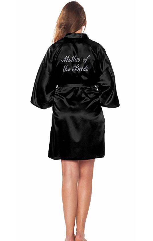 """Mother of the Bride"" Robe on the Back Wedding Robe Silk Satin Kimono Robe Fashion Night Robe Short Dressing Gown For Women-geekbuyig"