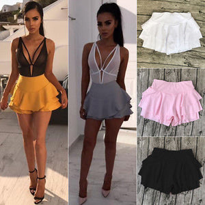 Women Girl Summer High Waist Frill Ruffle Flared Pleated Short Mini Shorts Solid Pink Black White-geekbuyig