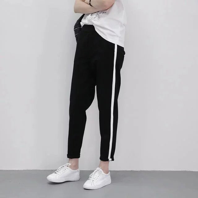 MOBTRS Top Fashion Women Striped Harem Pants Womens Black Casual High Waist Pants Loose Trousers Pants Female-geekbuyig